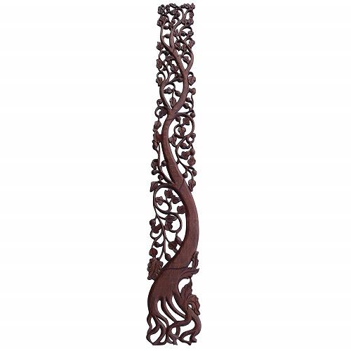 縦掛け花と木の木彫りのレリーフ 23X199 縦掛け, RUG&PIECE:20753d8d --- officewill.xsrv.jp