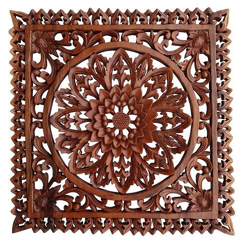 花の木彫りレリーフ 40X40 スワール無垢材