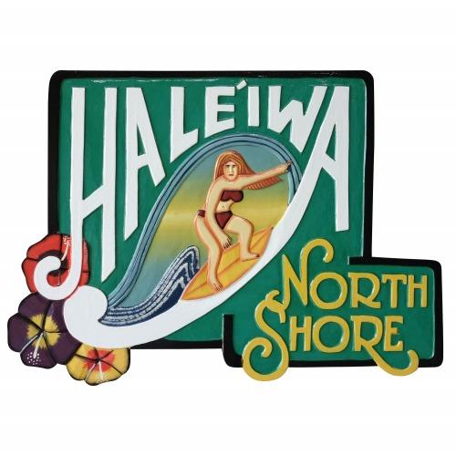 NORTH SHORE HALEIWA carved Hawaiian sign board Women 56X40