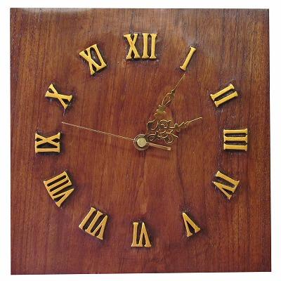 オールドチークの木彫り壁掛け時計25cmX25cm