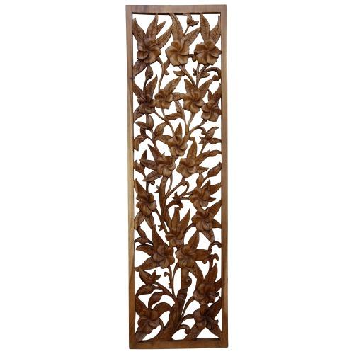 ハイビスカス 木彫りレリーフ 29X100
