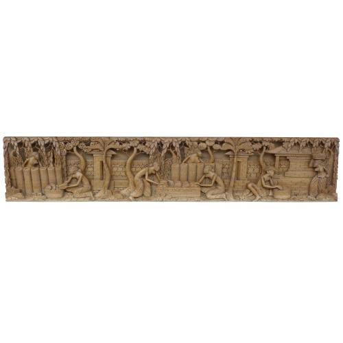 トラディショナルバリ 木彫りレリーフ 97.5X3X19