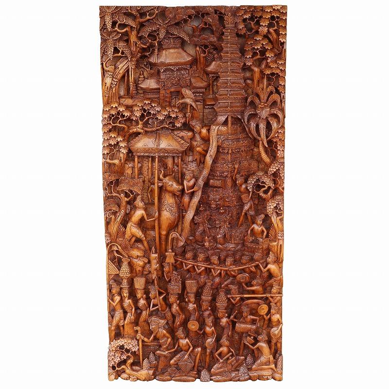 ナベン(ガベン) NGABEN バリヒンドゥのお葬式木彫りのレリーフ 46X7X98 カパランウッド無垢材