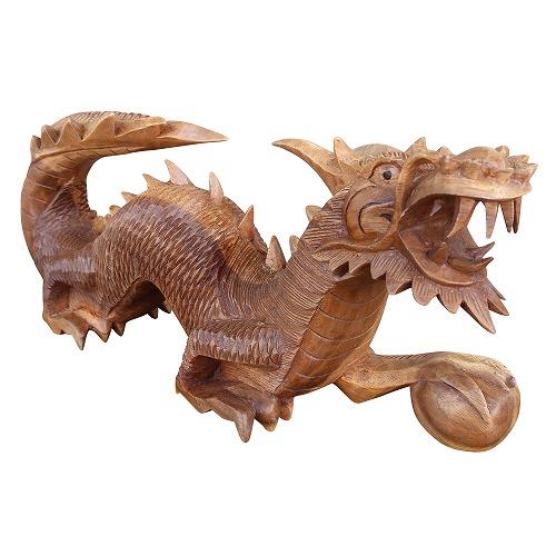 ドラゴンの木彫り 龍の木彫り スワール無垢材 右向き 080821