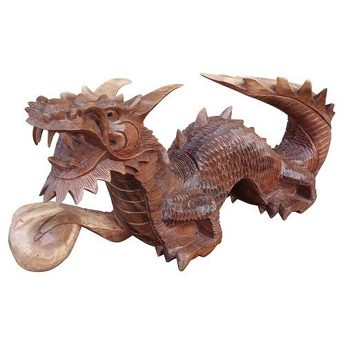 ドラゴンの木彫り 龍の木彫り スワール無垢材 左向き 080822
