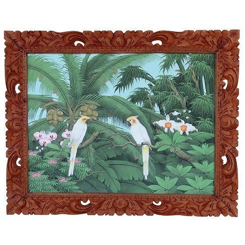 2匹の鳥と椰子 プンゴセカンスタイル 100X80 Parsa W.作
