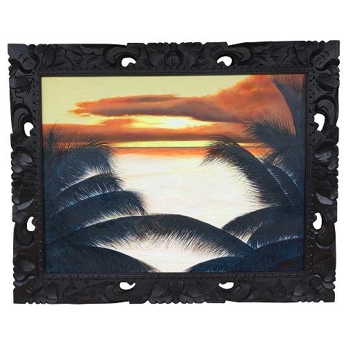 海に沈む夕日と椰子の絵 サンセット 100X80