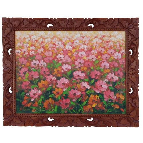 花畑の絵 ポピー レッド 油絵 オイルペインティング Loalo作 100X80