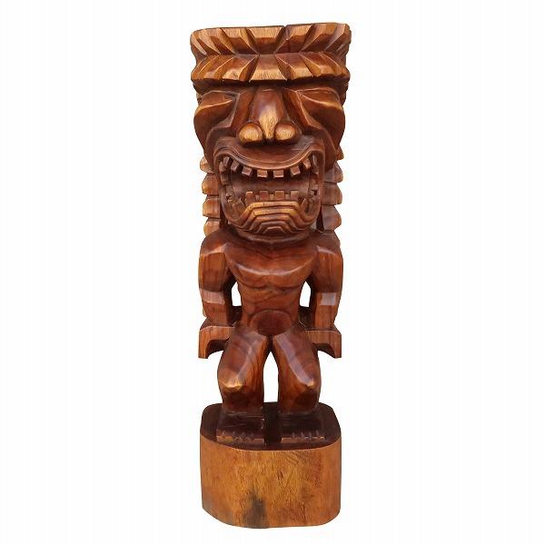 ティキの木彫り カナロア TIKI KANALOA 100cm 木製スワール無垢材No.252