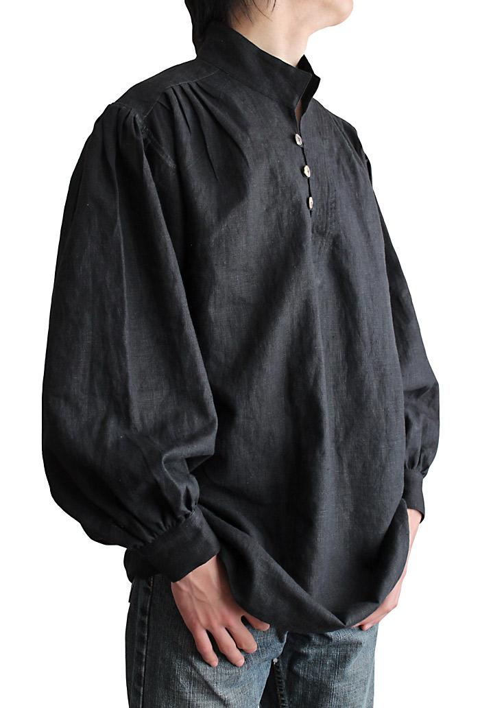 ヘンプのスタンドカラープルオーバー・ルネッサンスNo.2(黒)