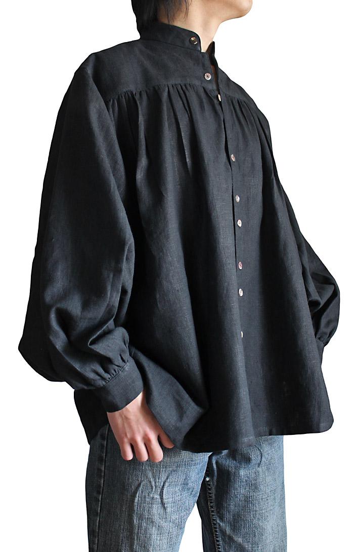 ヘンプのスタンドカラーシャツ・ルネッサンス(黒)
