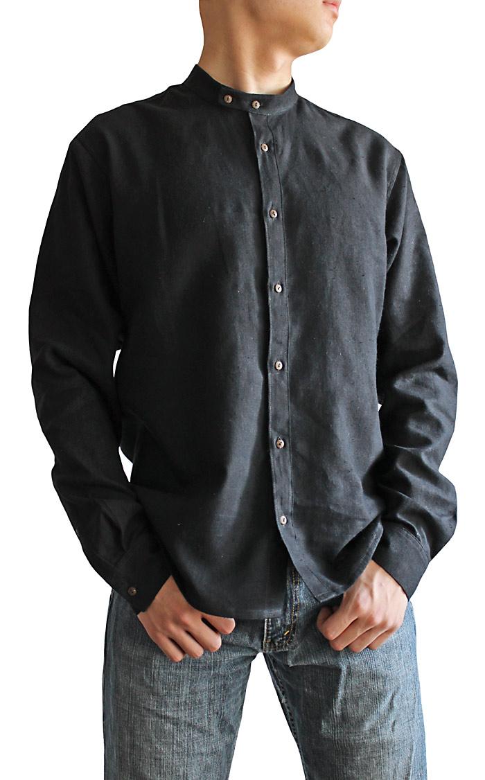 ヘンプのスタンドカラーシャツ(黒)