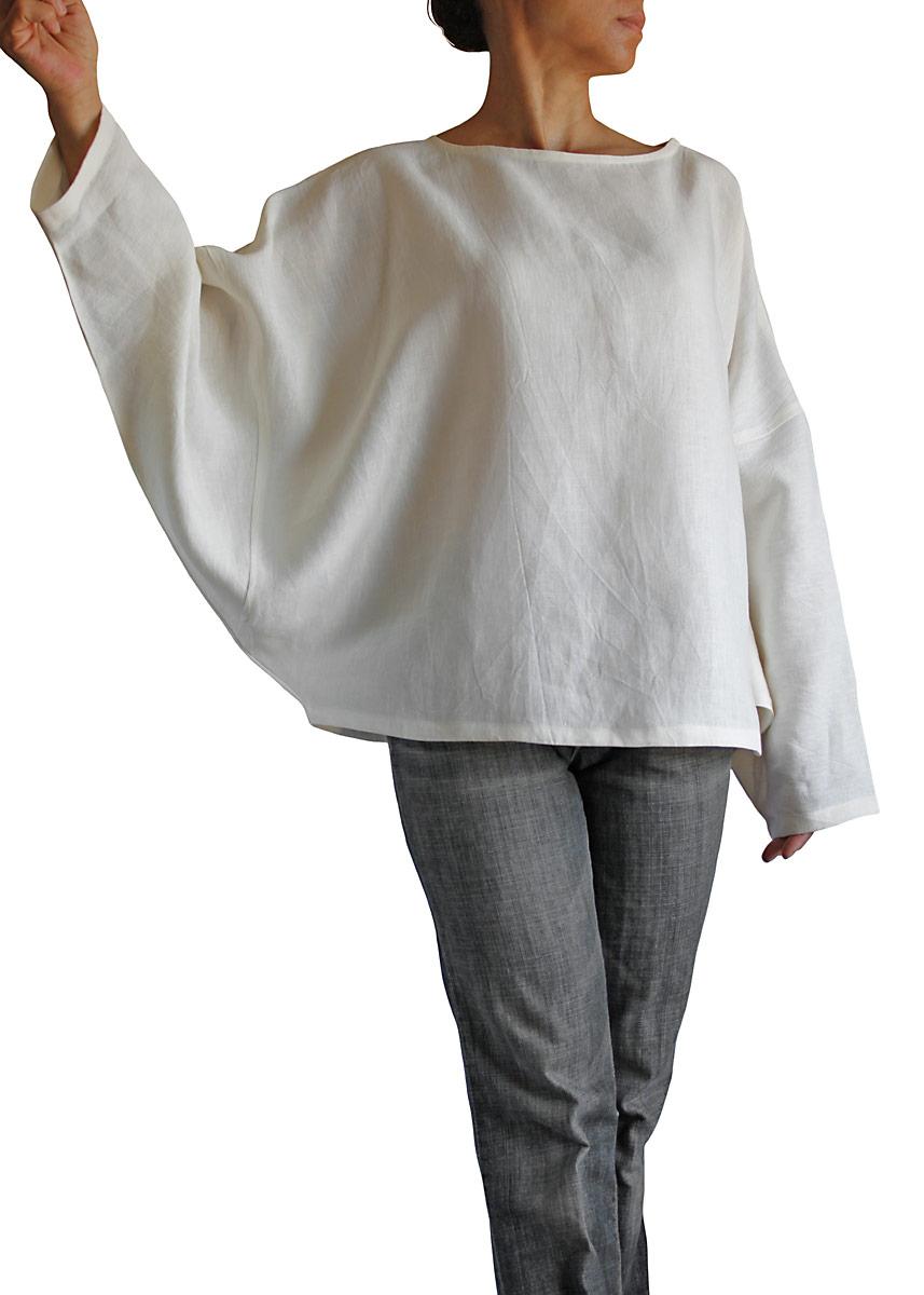リネン100%のショート貫頭衣(白)