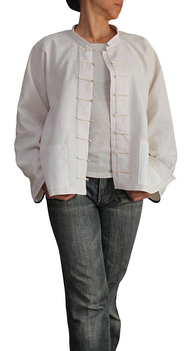 柔らかヘンプの手縫いチャイナシャツ(生成)