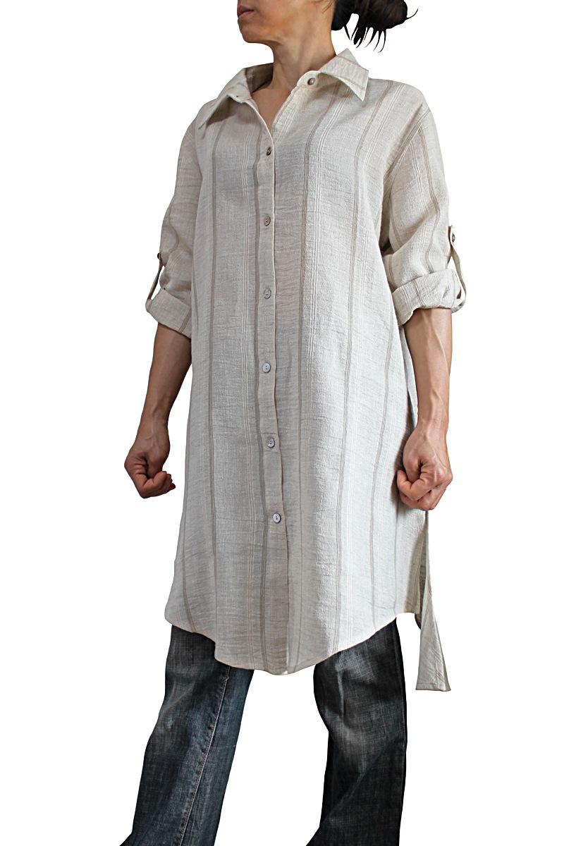 ヘンプリネンのロングシャツ(ナチュラル)