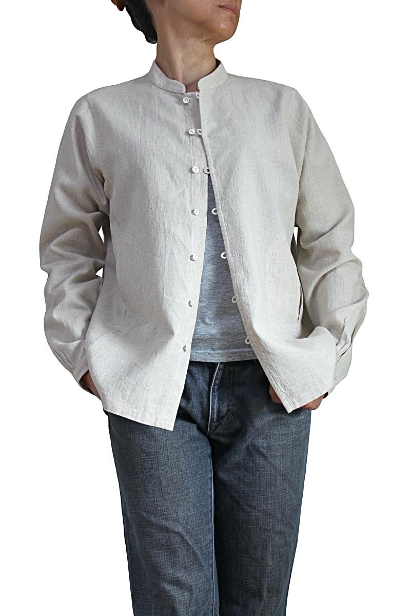 日本正規代理店品 2020新作 リネンコットンのスタンドカラーブラウスジャケット ナチュラル