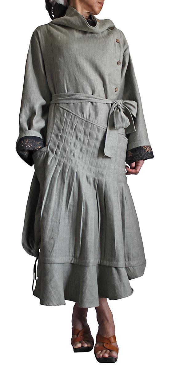 リネンのオフハイネックデザインドレス(薄いグリーングレー系)