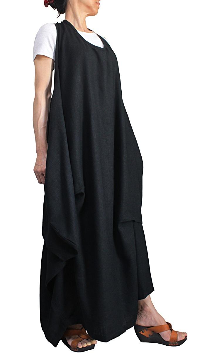 期間限定特価品 柔らかヘンプのノースリーブゆったりドレス 一部予約 黒