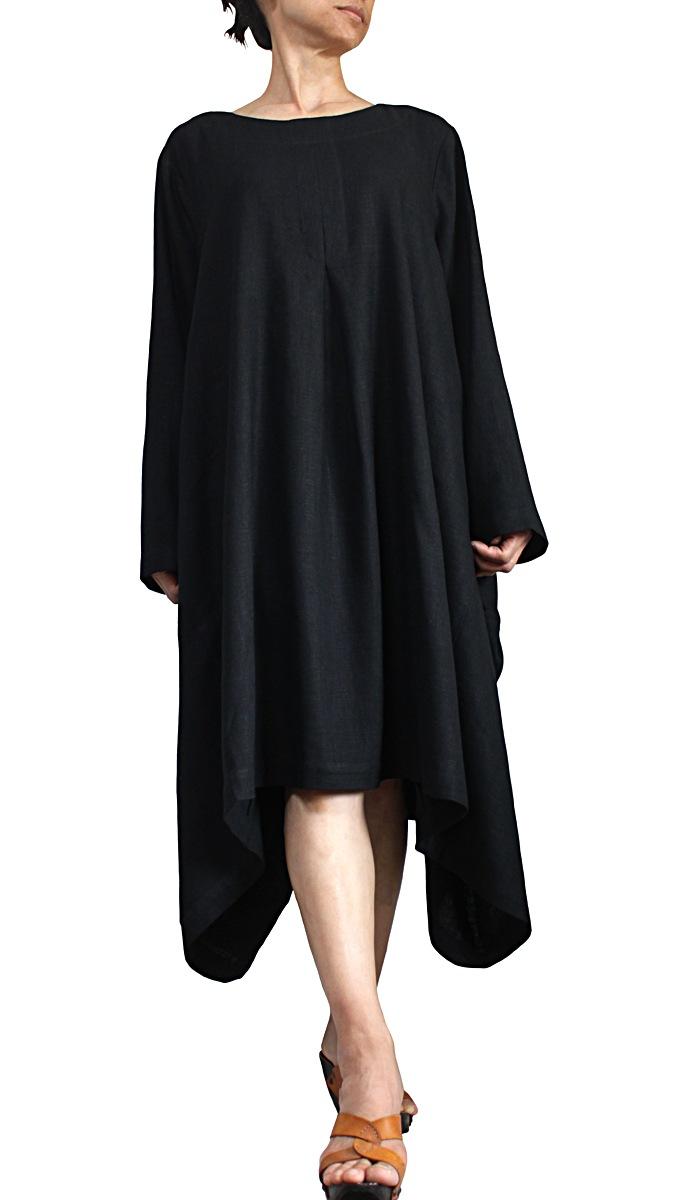 柔らかヘンプのエレガントロングドレスNo6(黒)