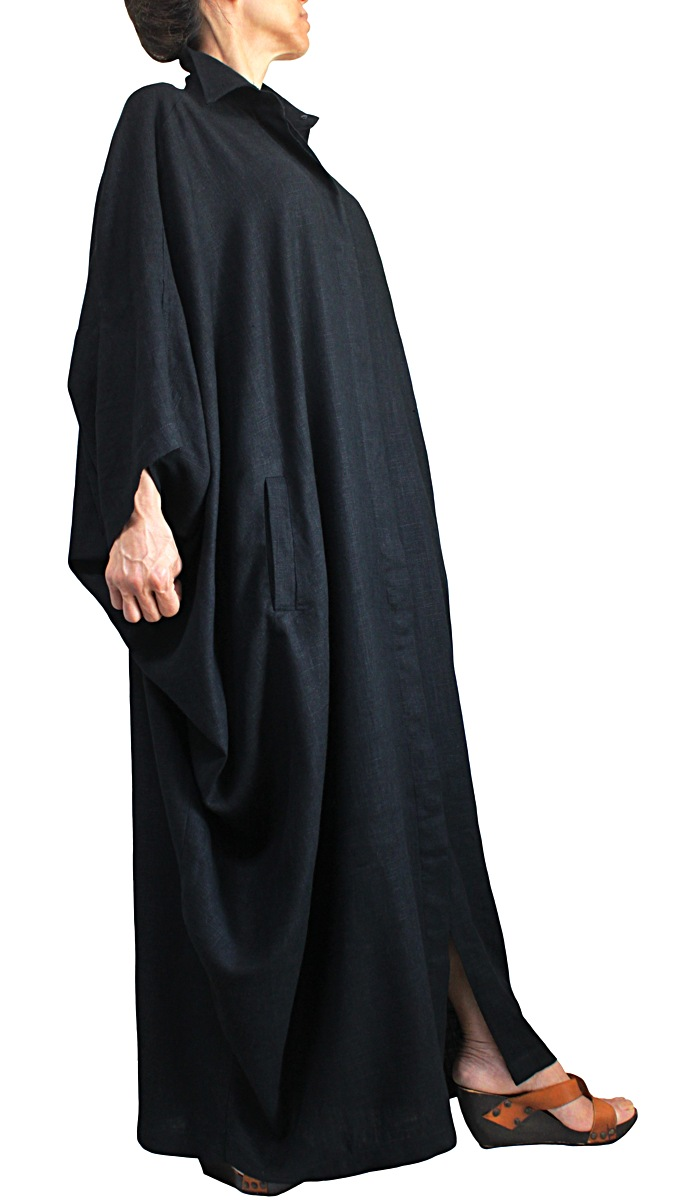 柔らかヘンプのエレガントポンチョドレスコート(黒)