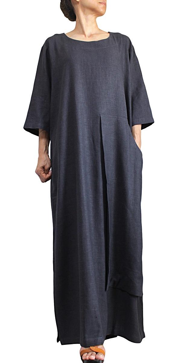柔らかヘンプのビッグポケットドレス(墨黒)