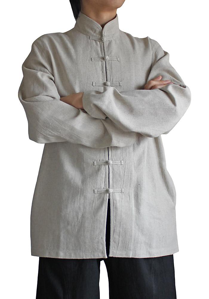ヘンプのメンズチャイナジャケット(ナチュラル)