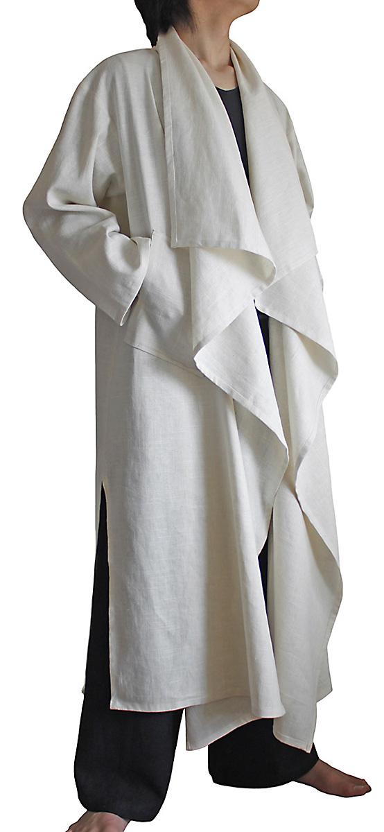 爆安プライス 柔らかヘンプのデザインロングコート 白 高級