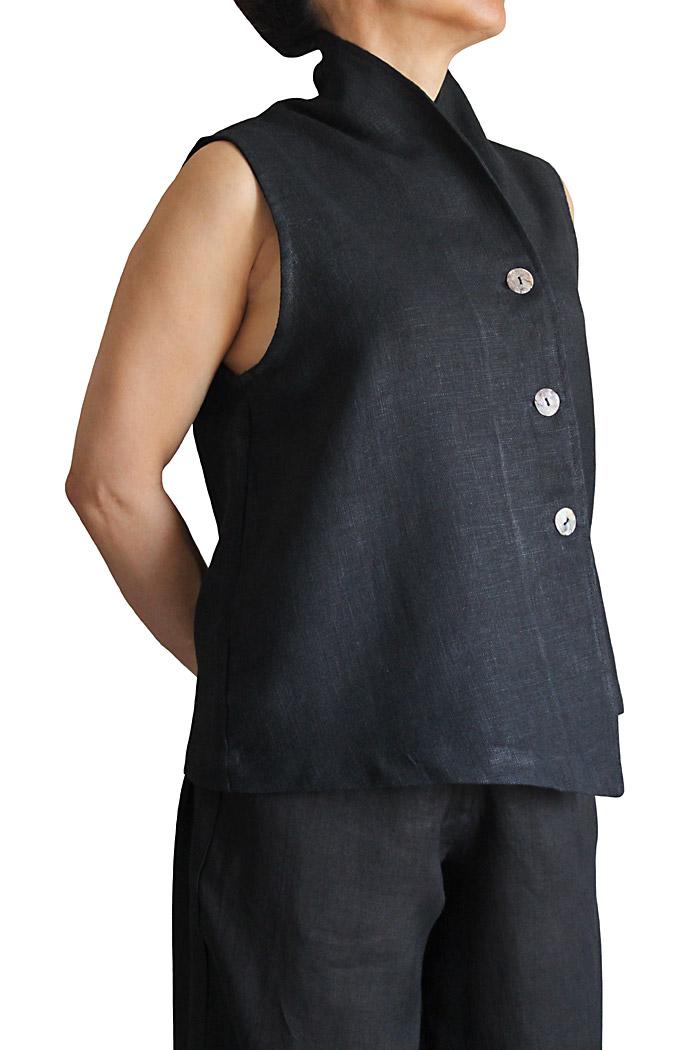 柔らかヘンプのアシンメトリーノースリーブジャケット(黒)