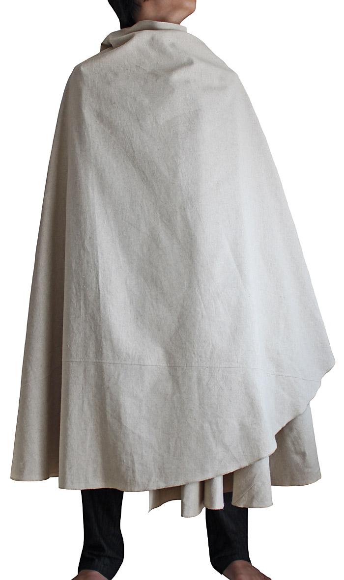 ヘンプの袈裟マント(生成ナチュラル・Mサイズ)