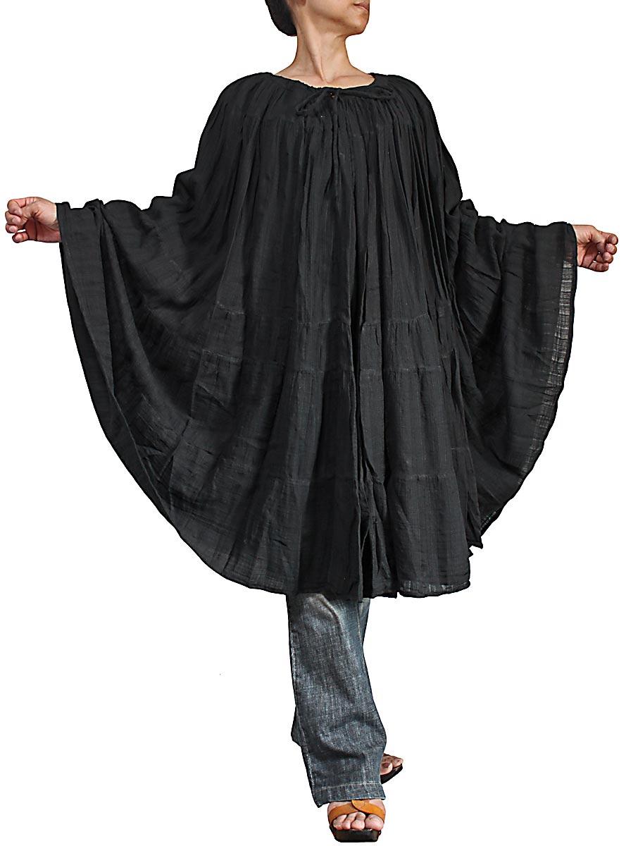 リネンコットンのボリュームクリンクルスカート 新作送料無料 ポンチョ 黒 未使用品