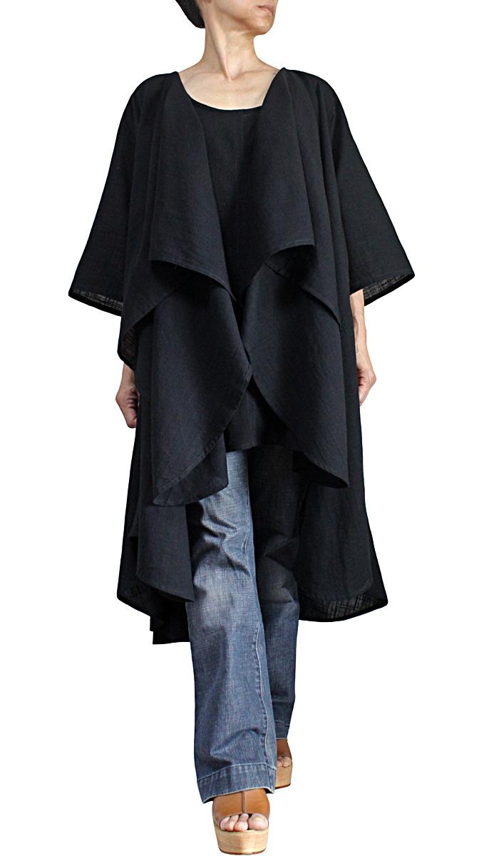柔らかコットンの羽織チュニック(黒)
