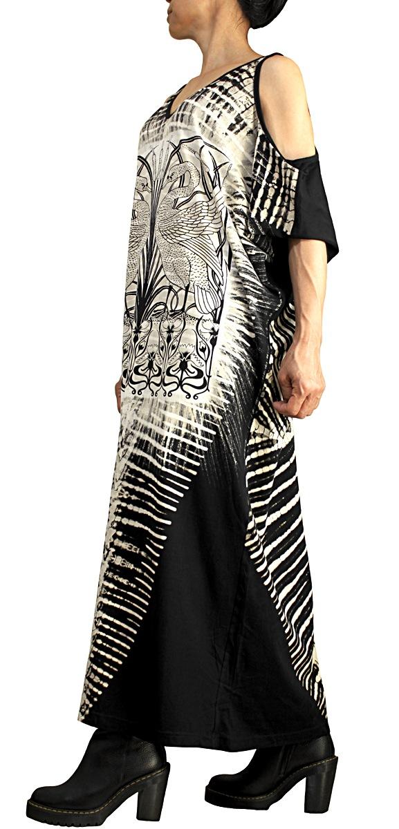 コットンプリントドレス(黒)