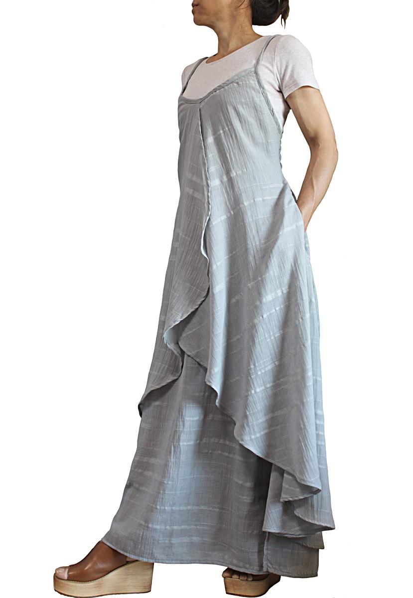 柔らかコットンラップ風スリップドレス