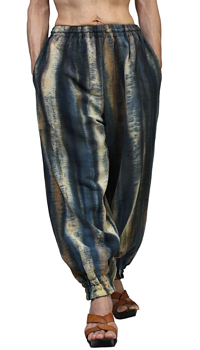 国内在庫 100%品質保証 草木染め竹糸織りの裾ボタンパンツ