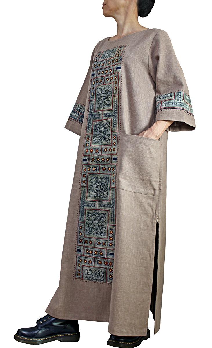公式 モンの古布使いヘンプドレス 発売モデル オバルチン色
