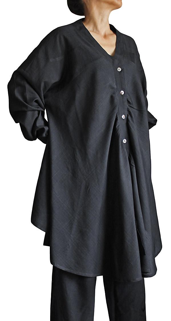 ビルマシルクのチュニックジャケット(黒)