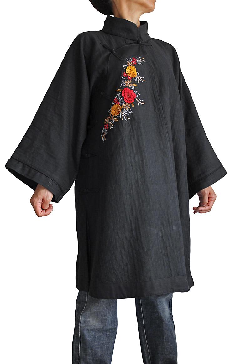 ビルマシルクチャイナチュニック花刺繍入り(黒地×赤刺繍)