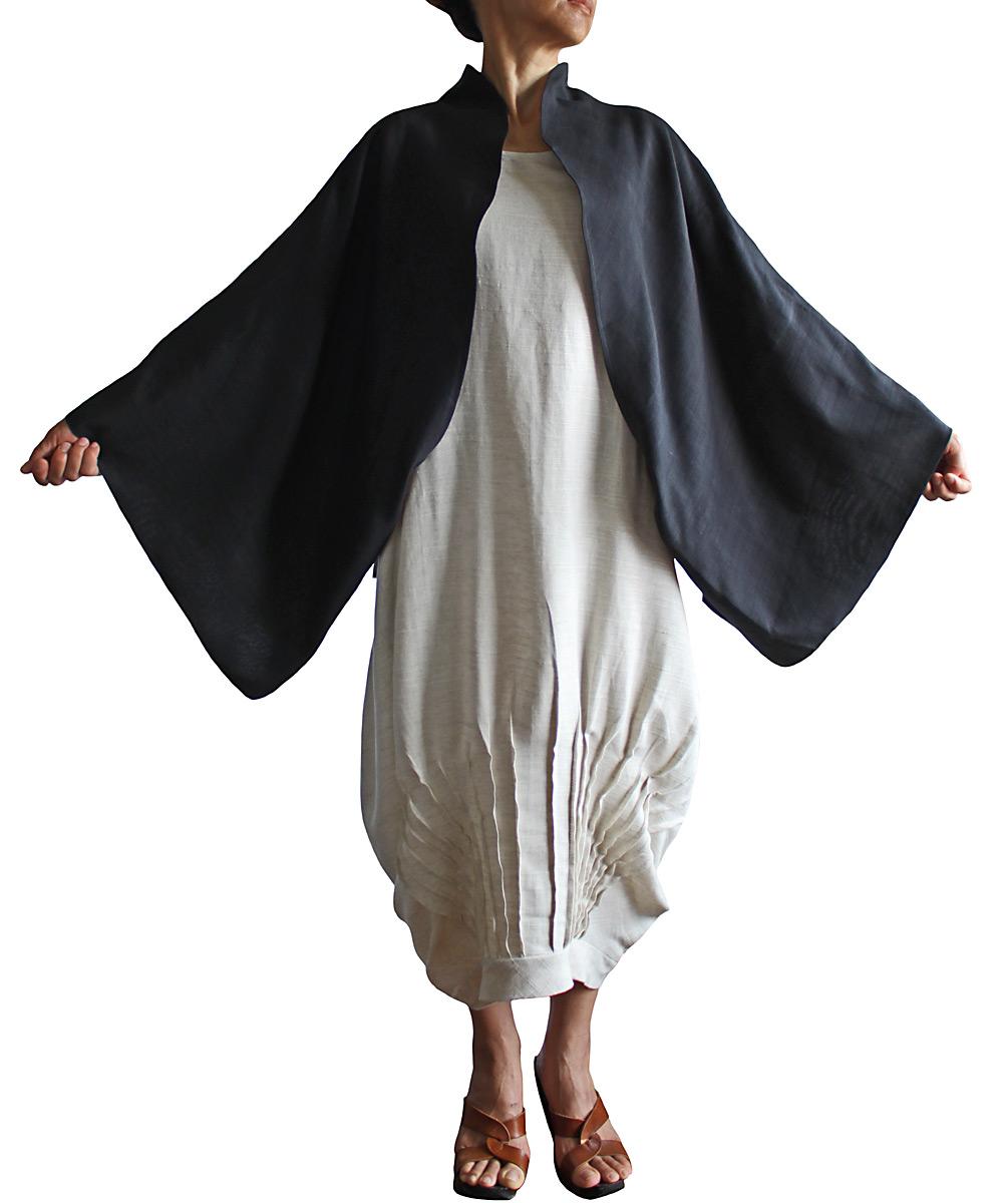ビルマシルクのムササビ羽織(黒)