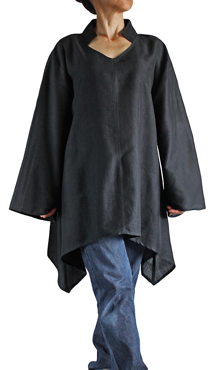 ついに入荷 ビルマシルクのシンプルデザインチュニック 黒 至高
