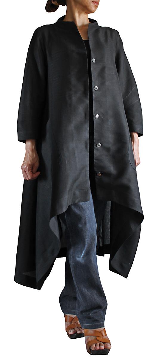 ビルマシルクのロングジャケットコート(黒)
