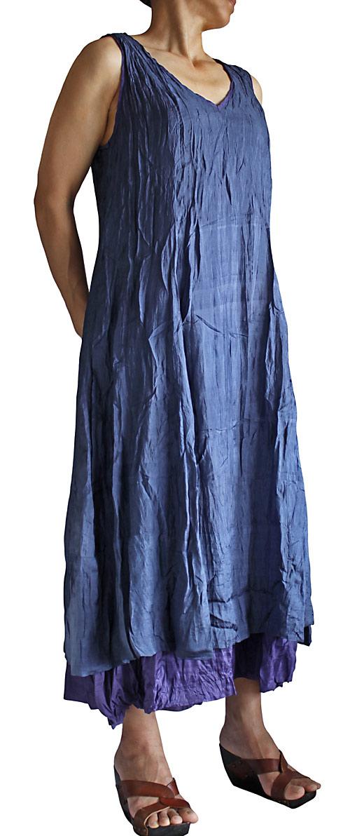 柔らかチャイナシルク配色ダブルドレス 人気の定番 アイスネイビーブルー 割り引き