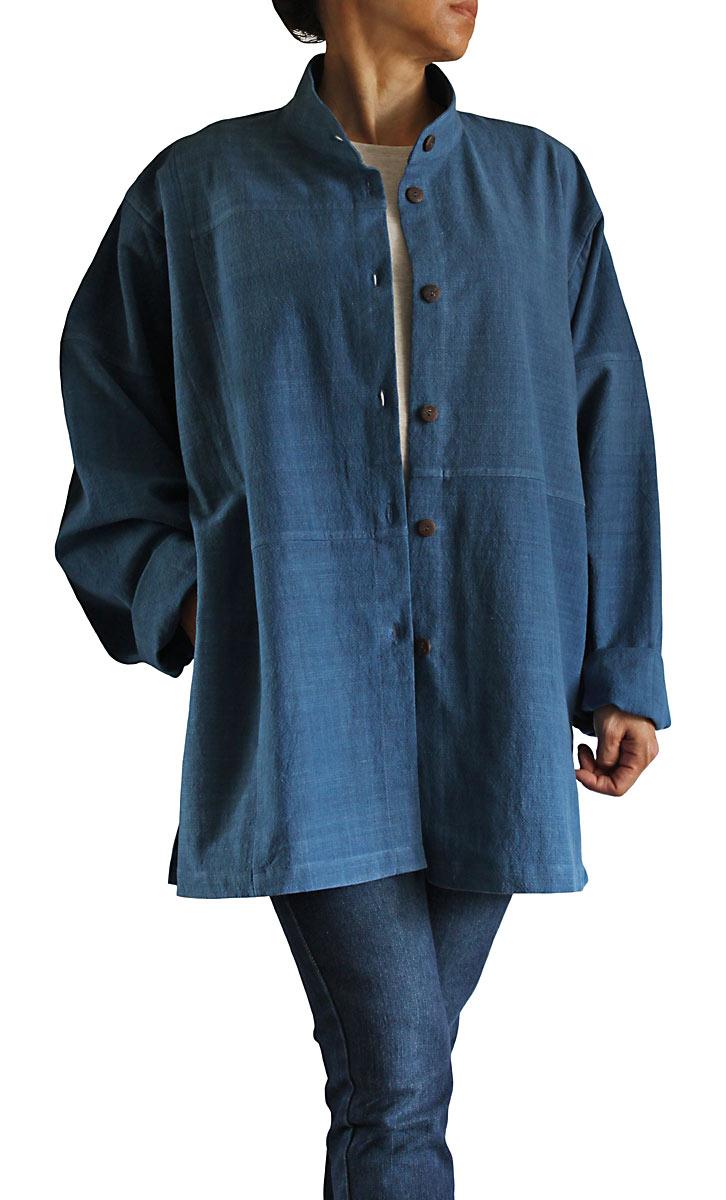 メイルオーダー ジョムトン手織綿スタンドカラーブラウスジャケット 正規激安 インディゴ