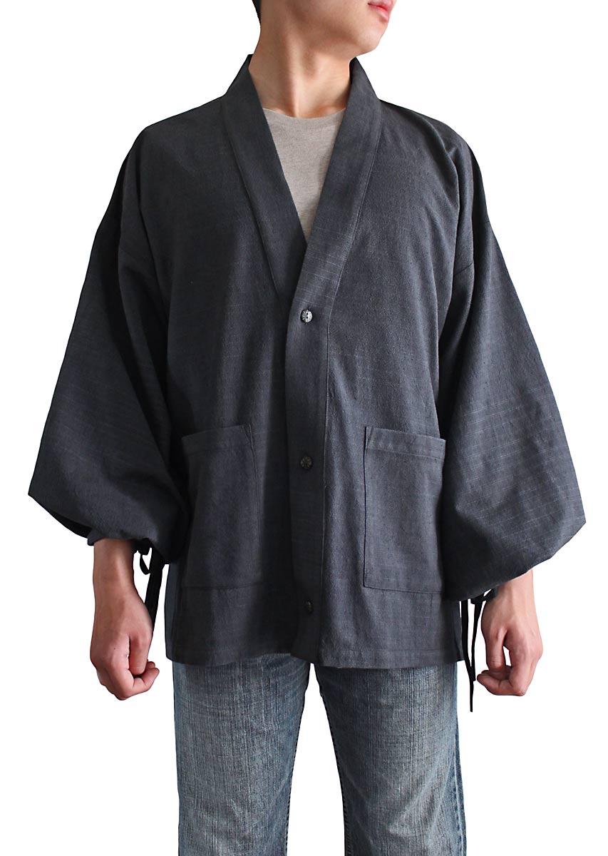 ad35c678e2fc ジョムトン手織綿の和風カーディガン(墨黒):さわんアジア衣料雑貨店