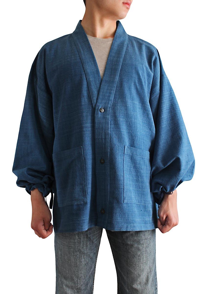 ジョムトン手織綿の和風カーディガン インディゴ 往復送料無料 情熱セール