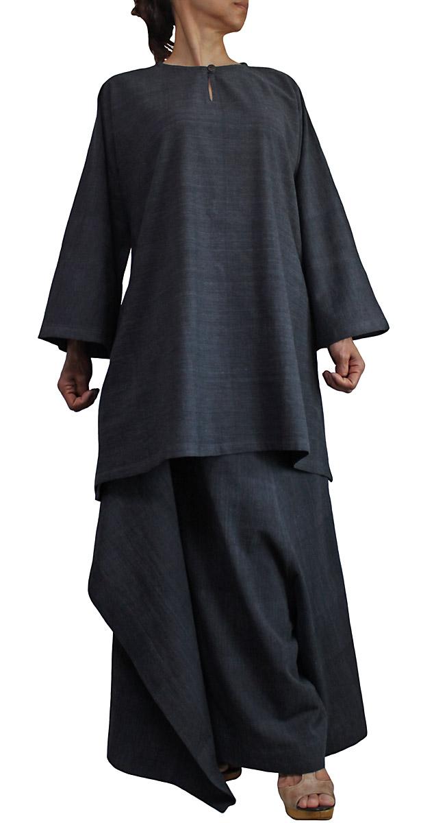 ジョムトン手織り綿のシンプルチュニック 墨黒 新商品 再再販