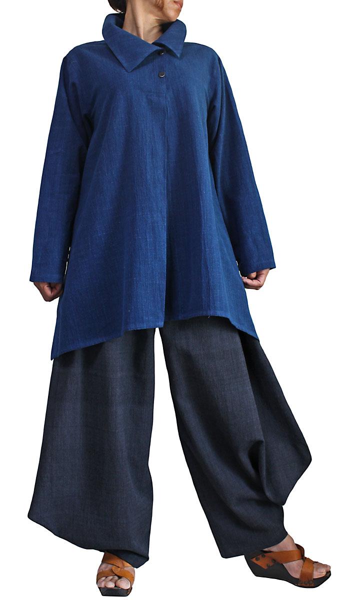 在庫処分 ジョムトン手織り綿のネックデザインチュニック 2020 新作 インディゴ