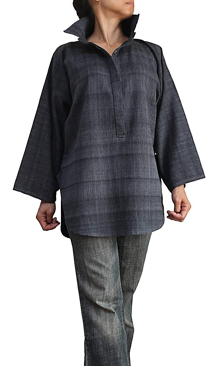 ジョムトン手織り綿のゆったりシャツ襟プルオーバー 墨黒 超激安 卸売り