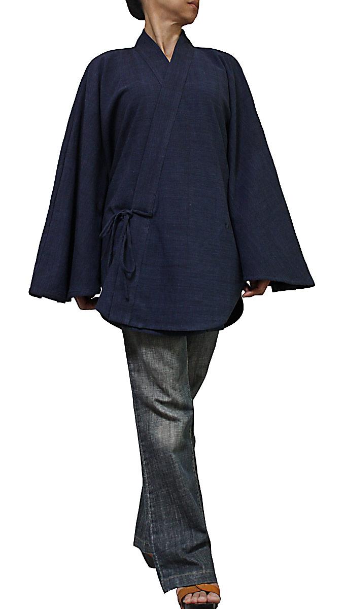ジョムトン手織り綿のドルマン着物ローブ(インディゴ紺)