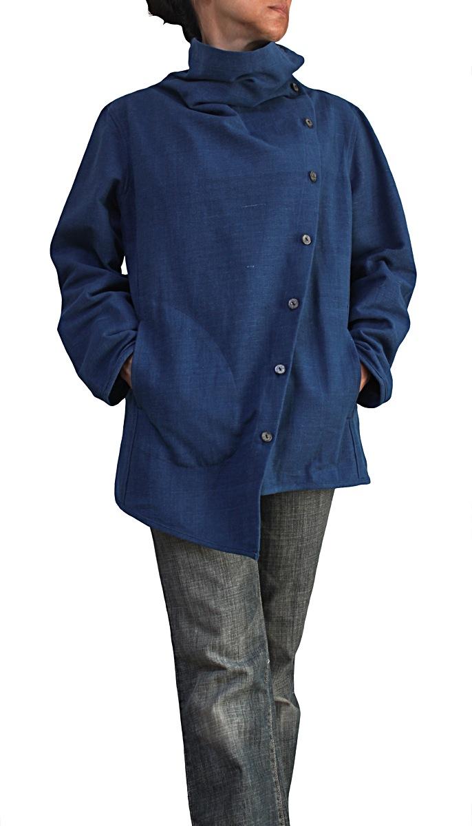 ジョムトン手織り綿ノマドシャツインディゴ染めNo2(インディゴ)