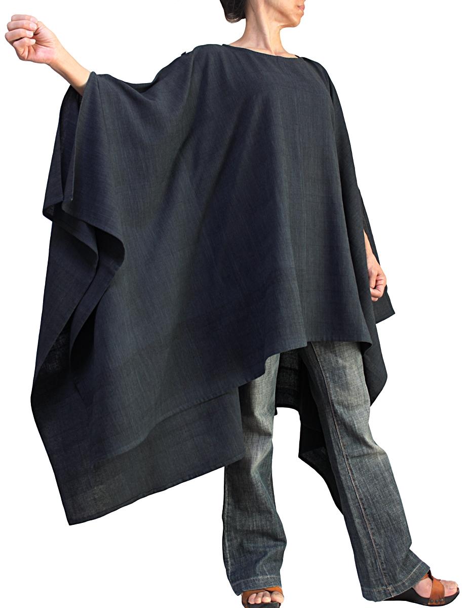 ジョムトン手織綿のポンチョ風貫頭衣(墨黒)